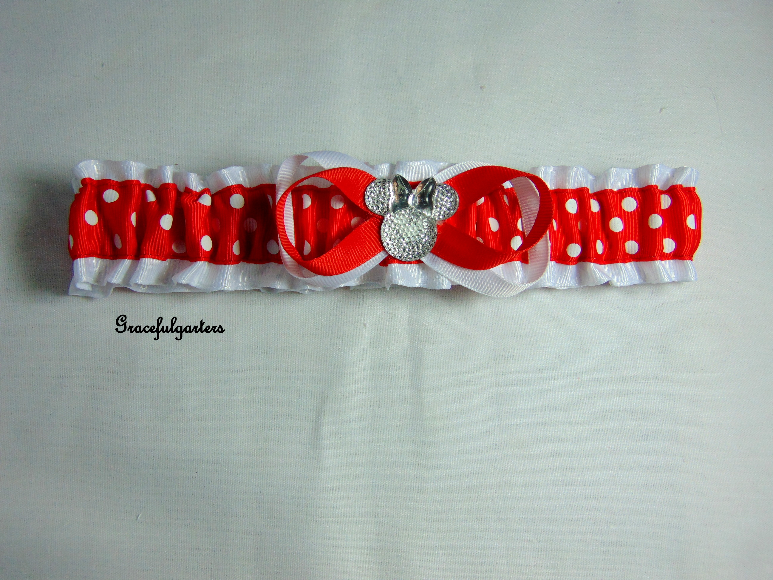 Minnie Mouse Polka Dot Bridal Wedding Garter