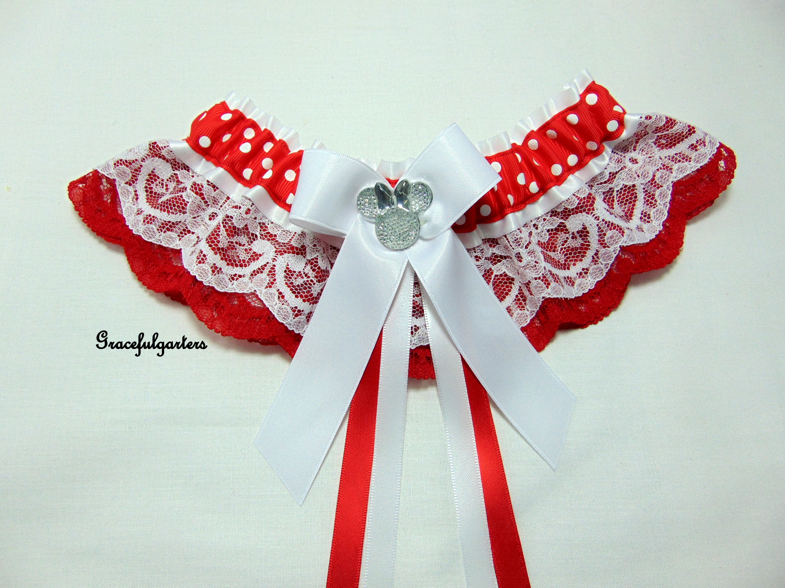 Minnie Mouse Polka Dot Lace Disney Bridal Wedding Garter