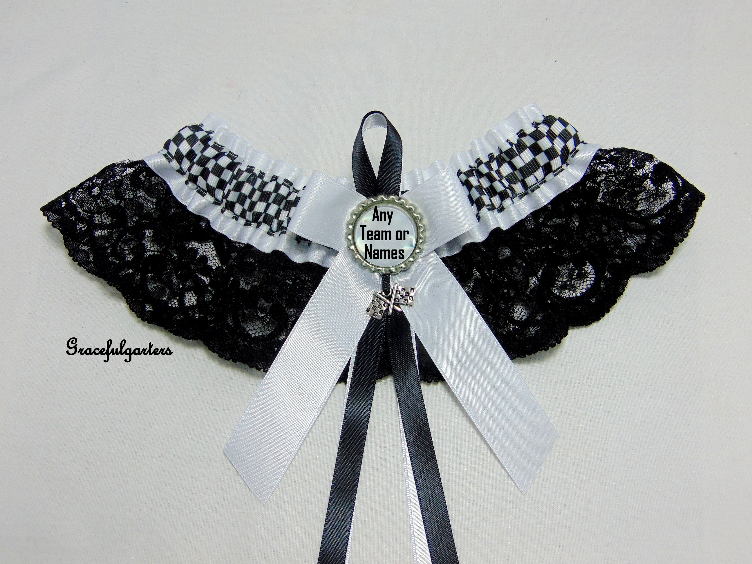 Checkered Flag Racing Team Or Names Lace Bridal Wedding Garter.