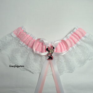 Pink Minnie Mouse Polka Lace Disney Bridal Wedding Garter