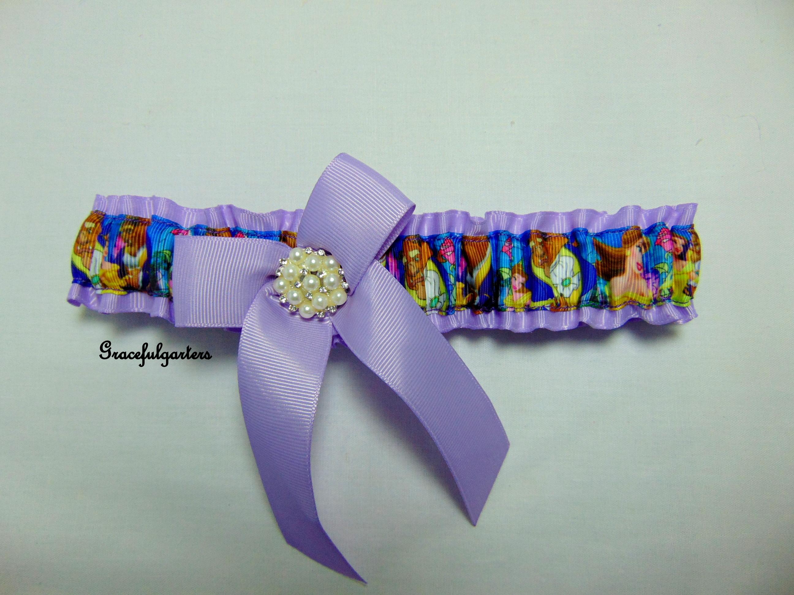 Beauty and the Beast Lilac Disney Bridal Wedding Garter