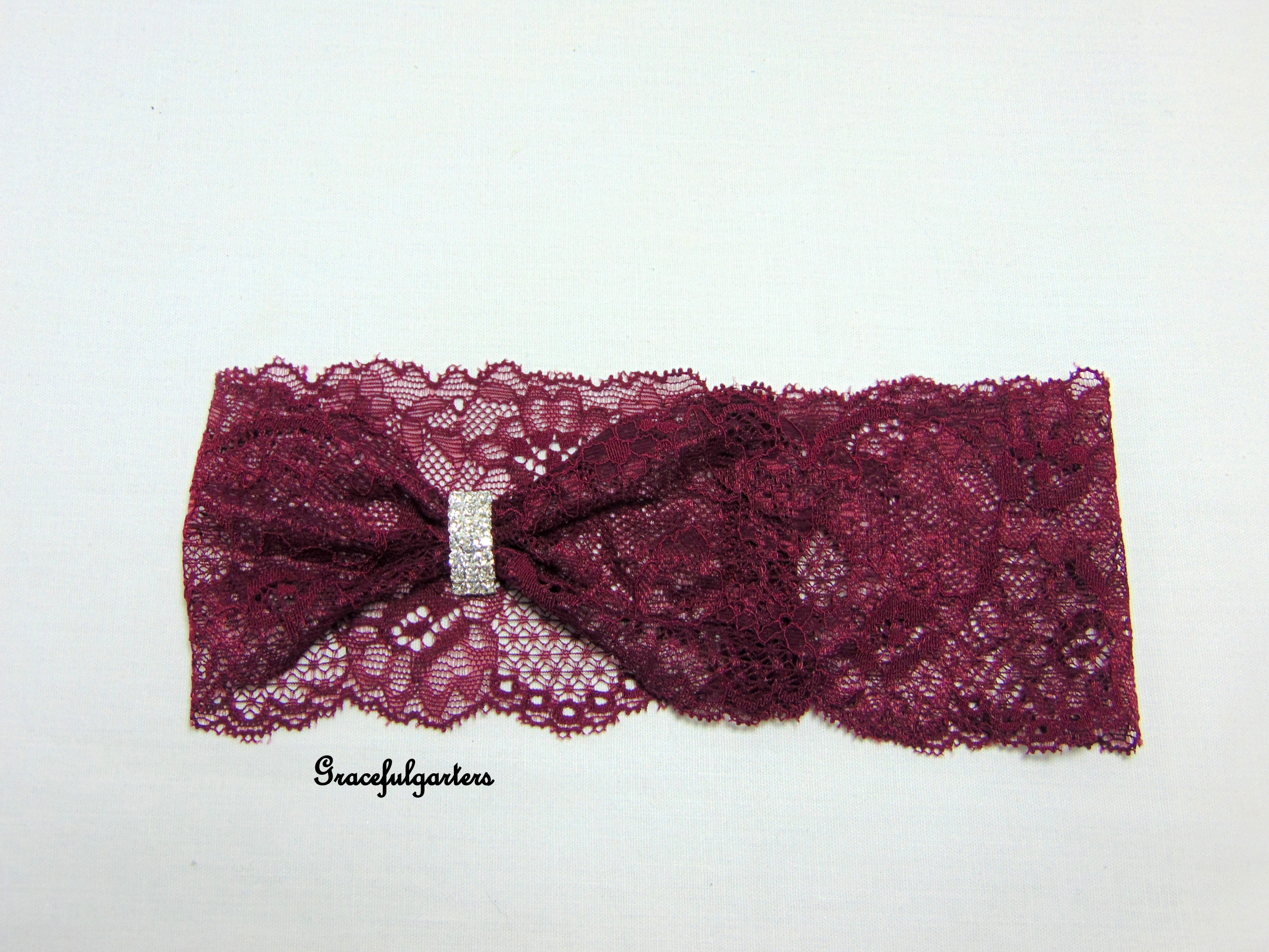 Burgundy Claret Stretch Diamante Lace Bridal Wedding Garter