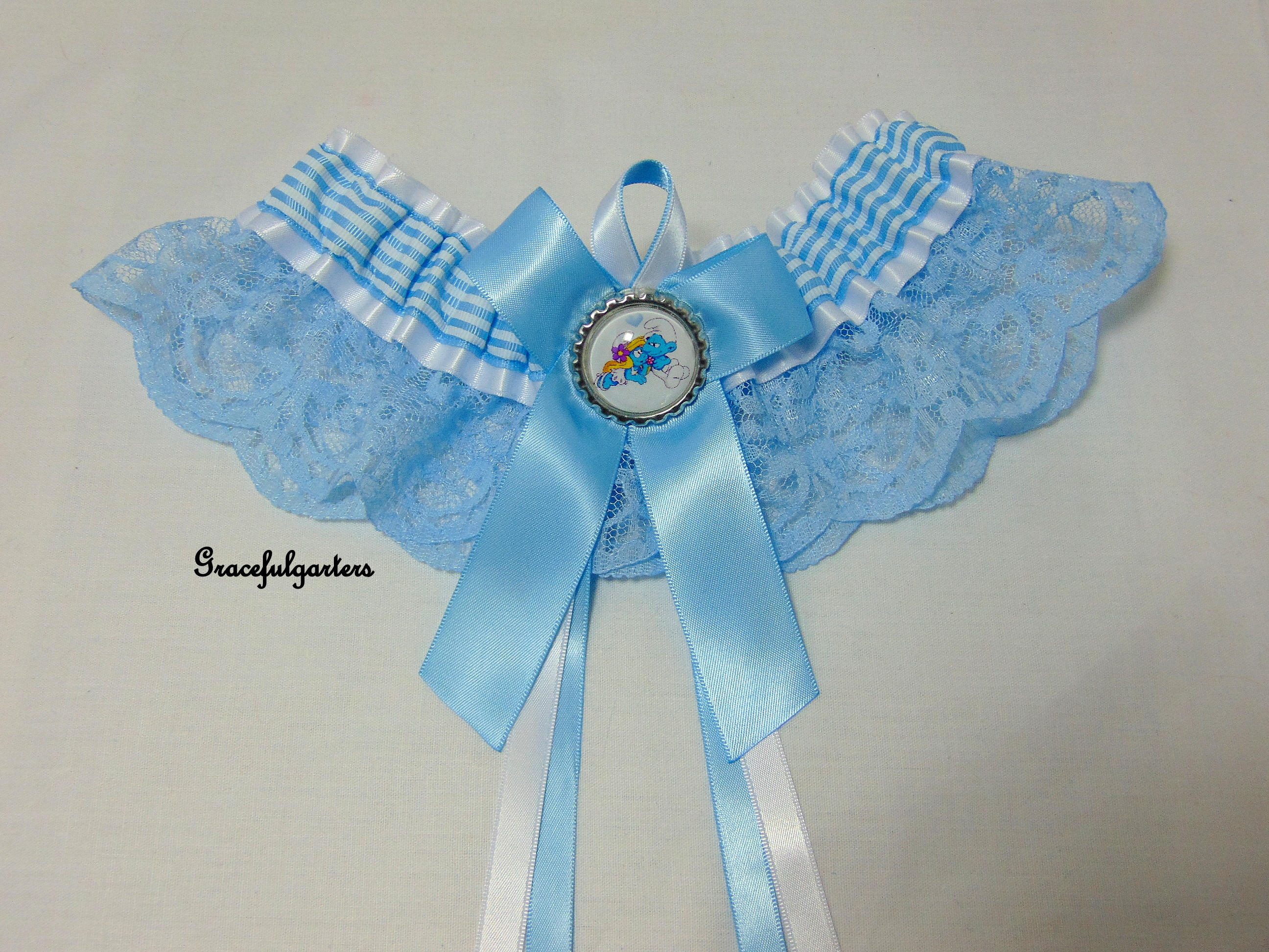 Blue Smurfs Lace Bridal Wedding Garter.