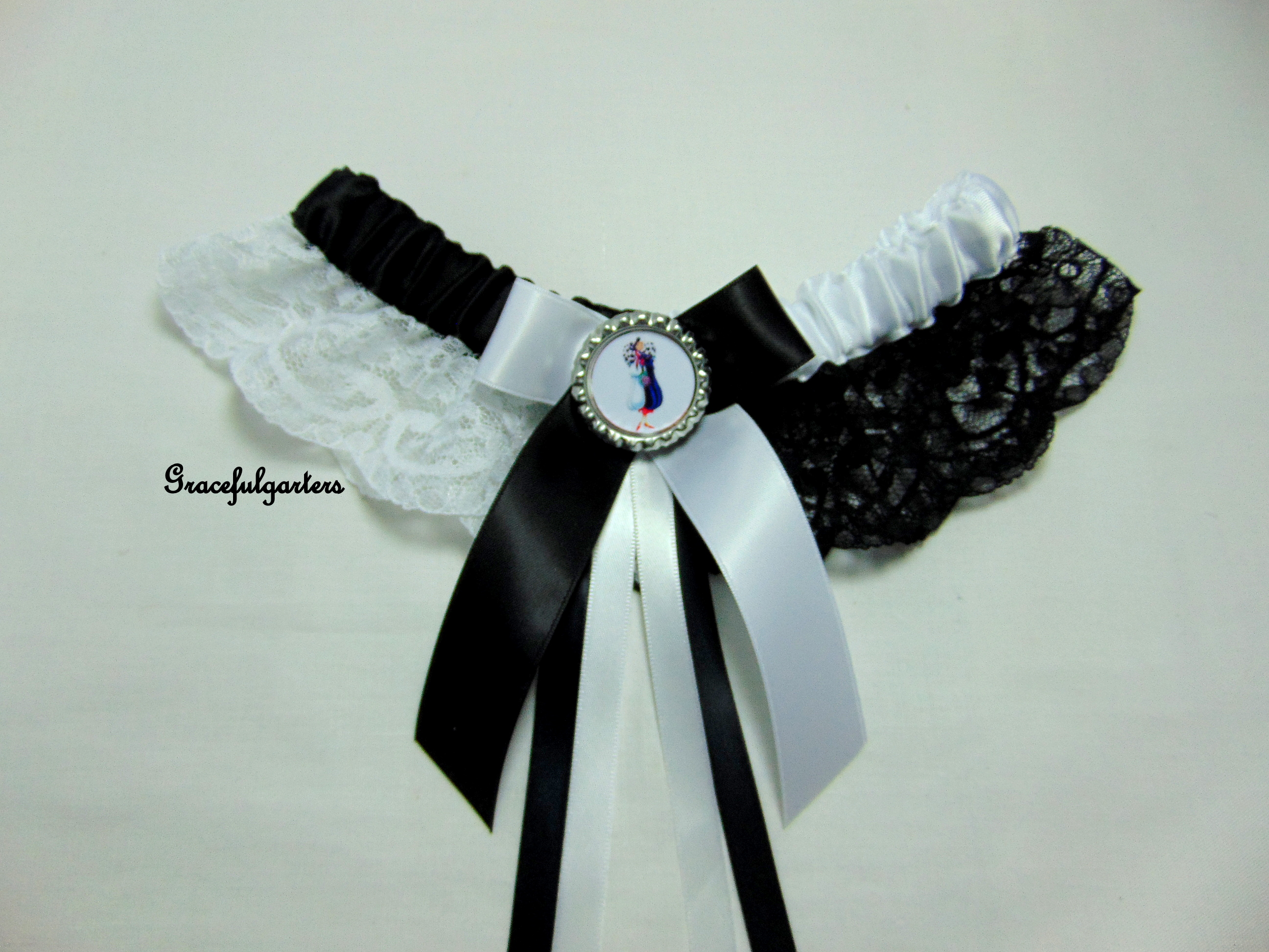 Cruella de Vil Laced Bridal Wedding Garter