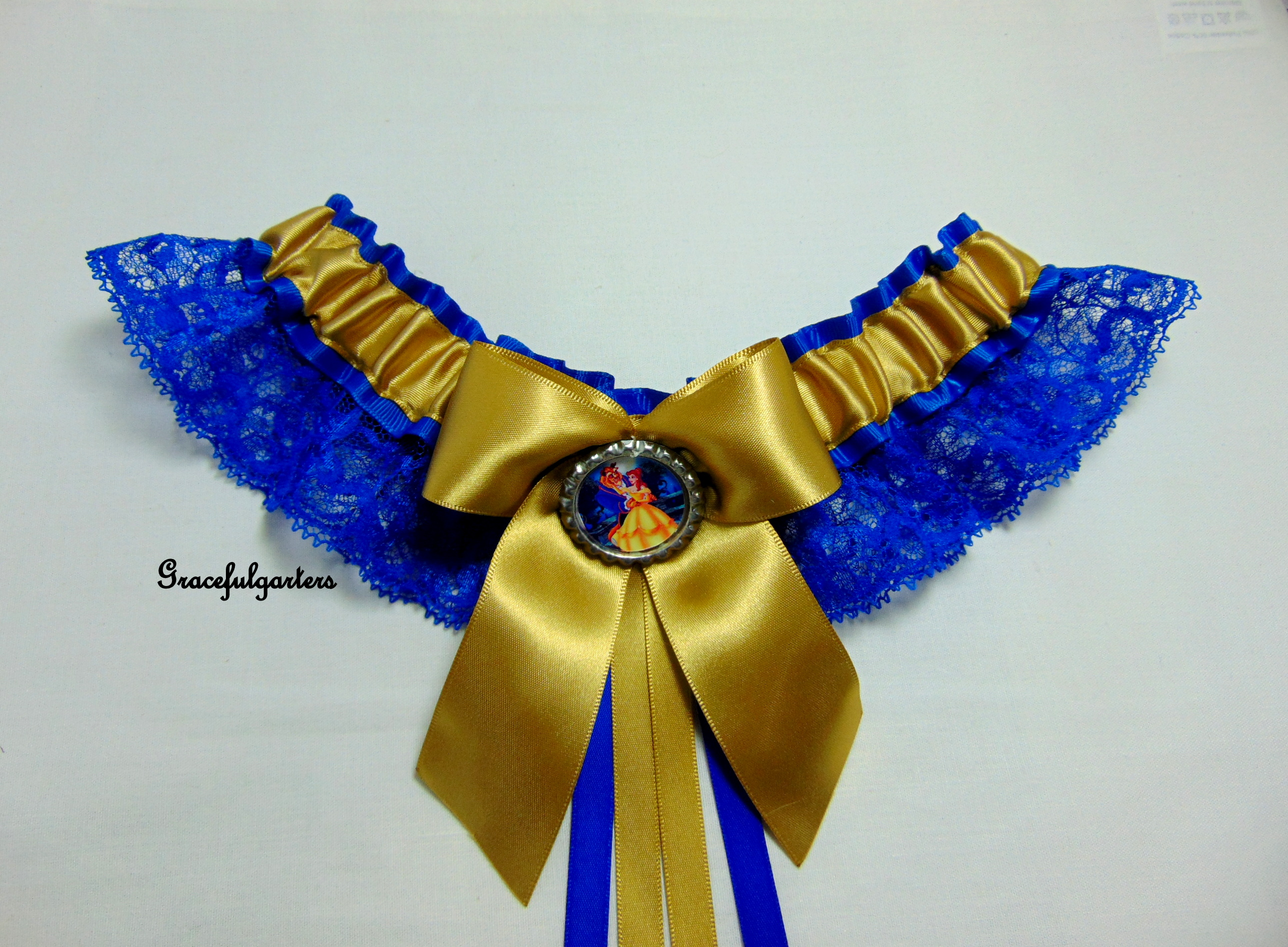 Beauty And The Beast Royal Blue & Gold Lace Bridal Wedding Garter