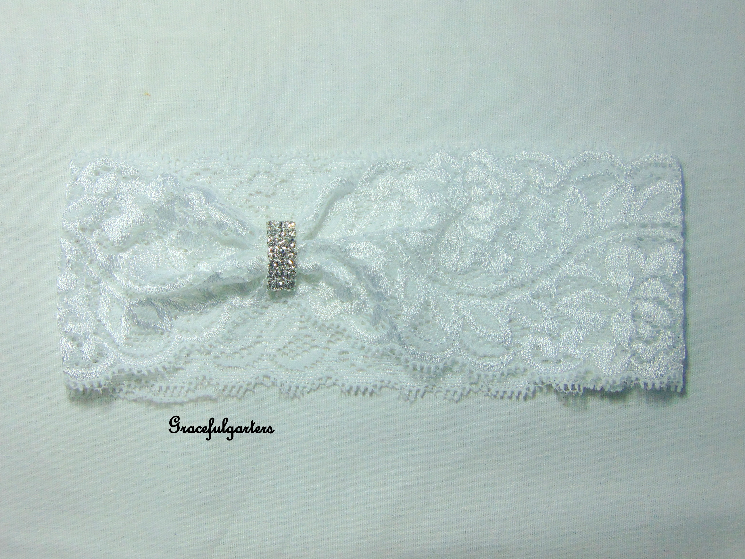White Stretch Lace Bridal Wedding Garter