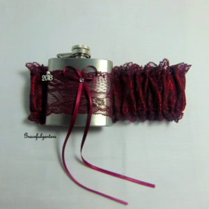 Burgundy/Wine Lace Hip Flask Bridal Wedding Garter