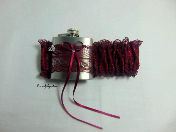 Burgundy/Wine Lace Hip Flask Bridal Wedding Garter