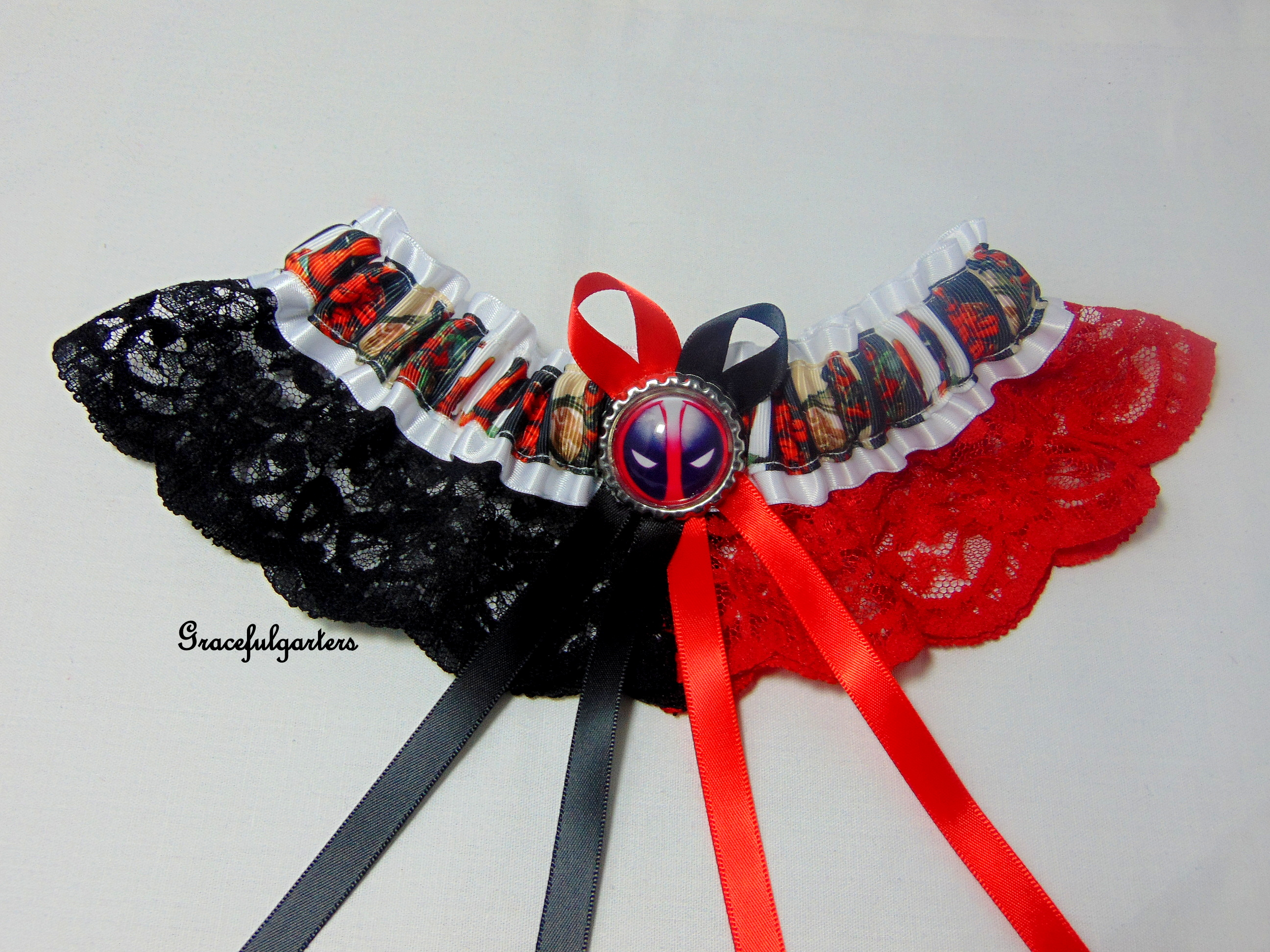 Deadpool Two Colour Lace Bridal Wedding Garter