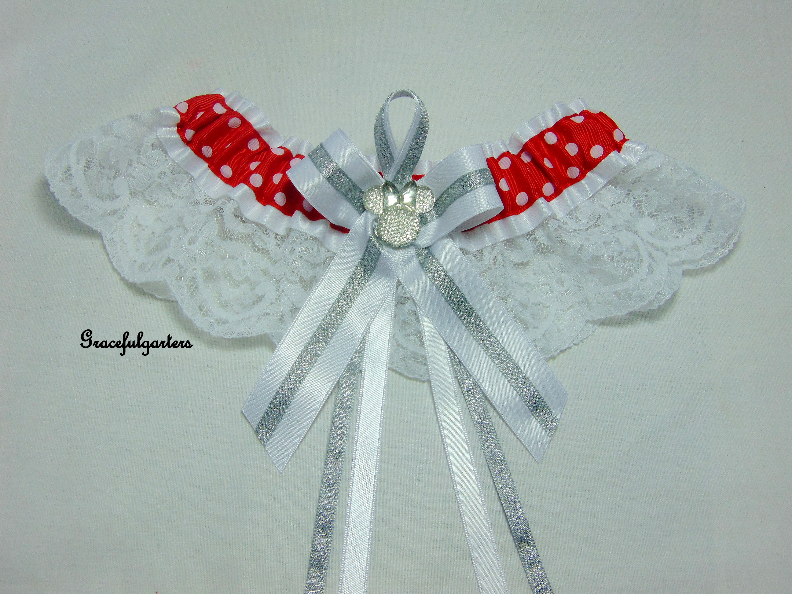 Minnie Mouse Sparkle Lace Disney Bridal Wedding Garter