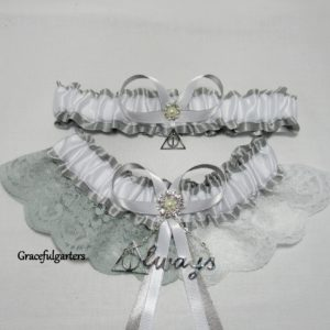 Harry Potter Deathly Hallows Always Half N Half Lace Bridal Wedding Garter Set