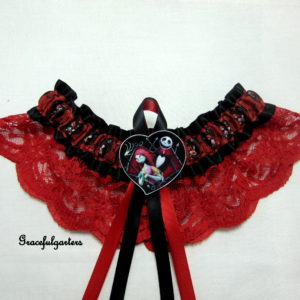 Jack Skellington& Sally Heart Nightmare before Christmas Lace Wedding Garter