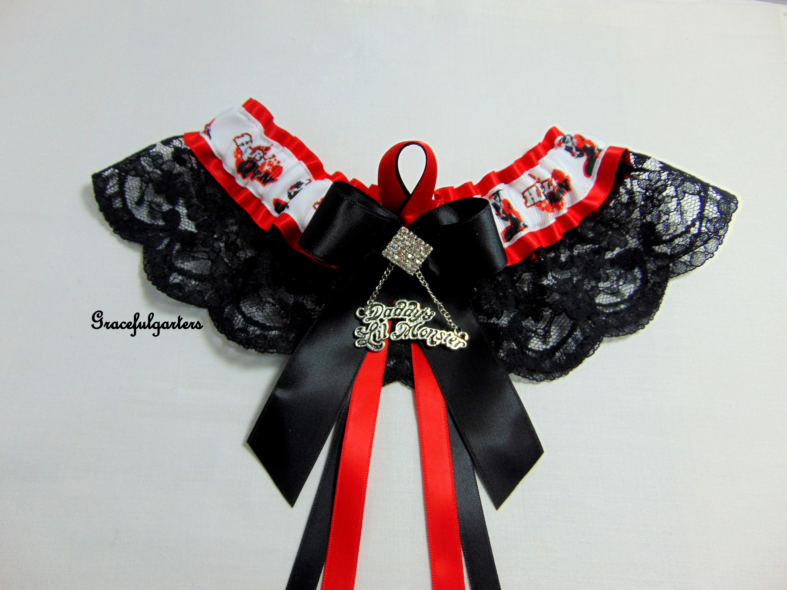 Daddys lil Monster Harley Quinn Bridal Wedding Garter.