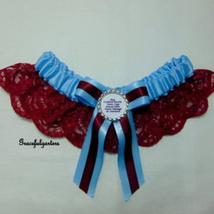 Burgundy And Baby Blue Lace Football Team Sports Bridal Wedding Garter