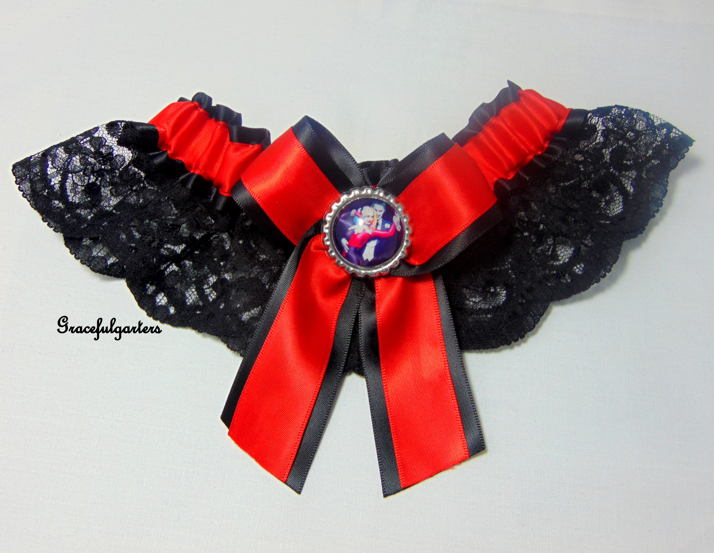 Harley Quinn & Joker Bridal Wedding Garter.
