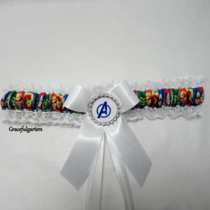 white Avengers Lace Trimmed Bridal Wedding Garter