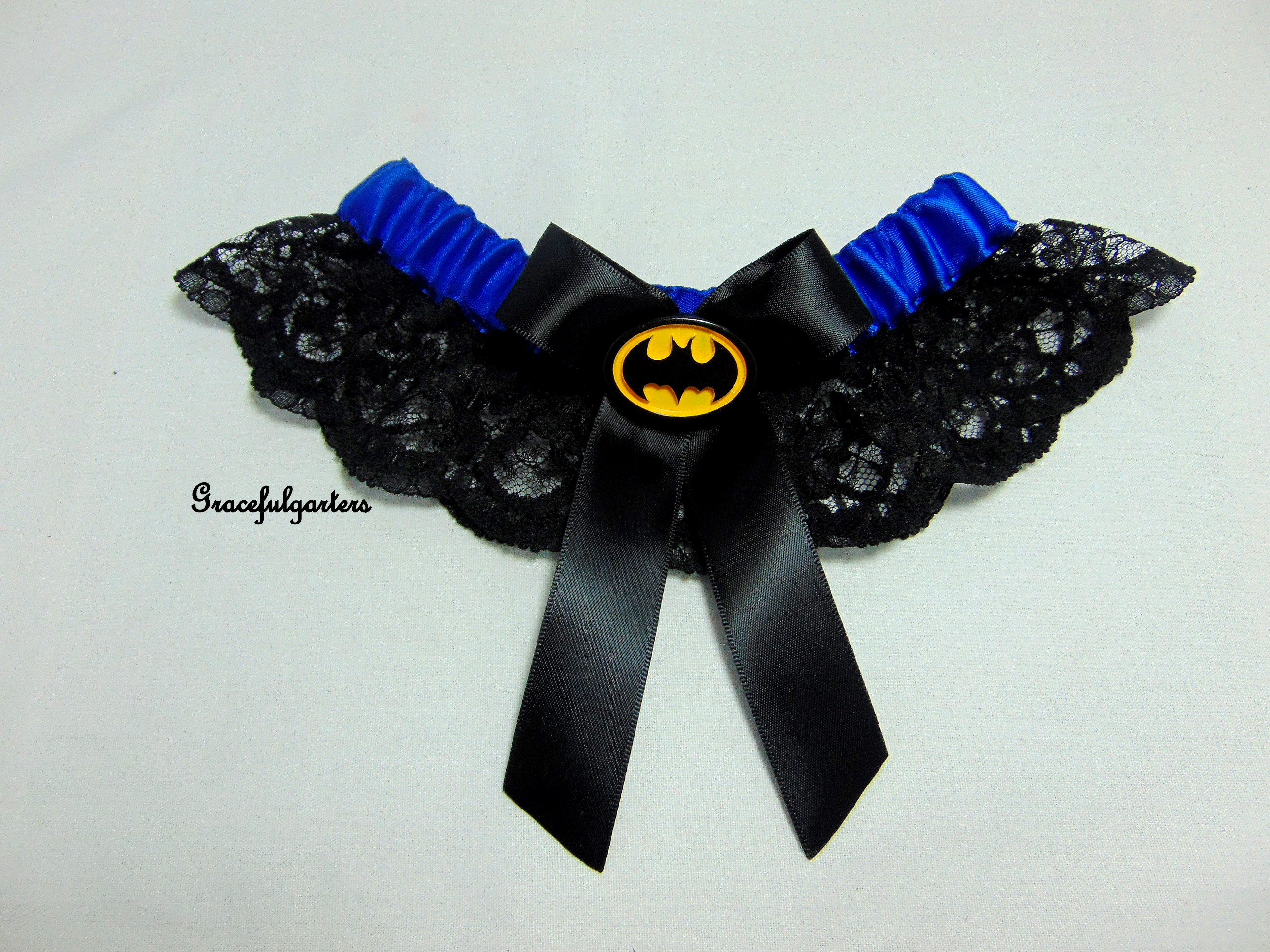 Royal Blue Batman Lace Bridal Wedding Garter