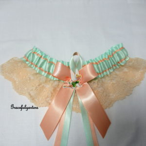 Disney Tinkerbell Mint & Peach Lace Disney Bridal Wedding Garter
