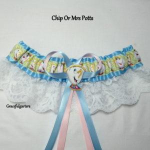 Mrs Potts or chip Disney Bridal Wedding Garter