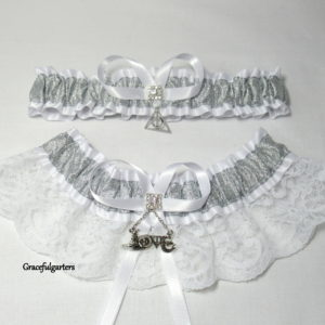 Harry Potter Deathly Hallow Love Lace Bridal Wedding Garter Set.
