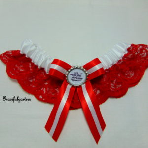 Red And White Lace Football Team Sports Bridal Wedding Garter (Any Team)