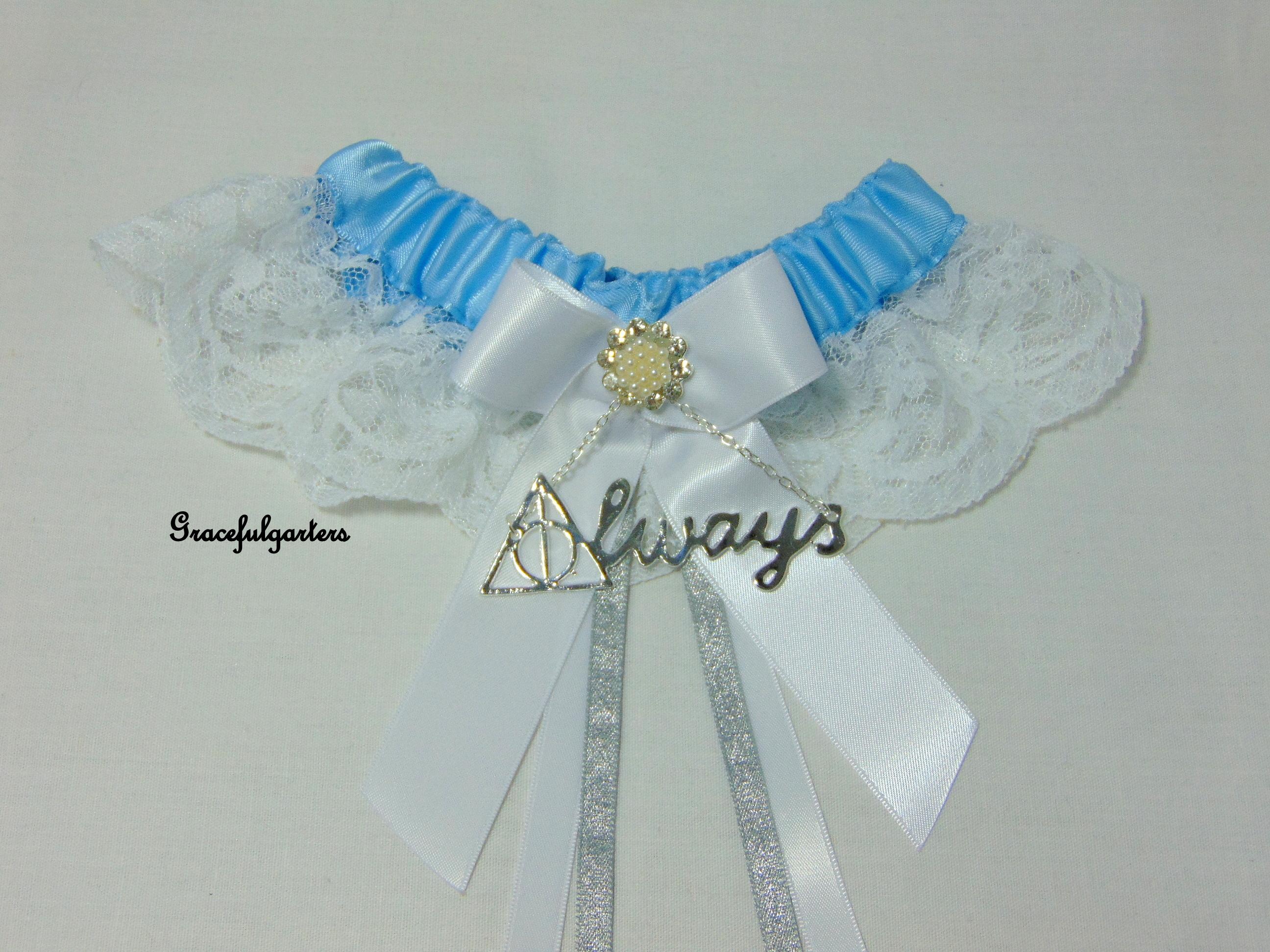 Harry Potter Baby Blue Lace Bridal Wedding Garter