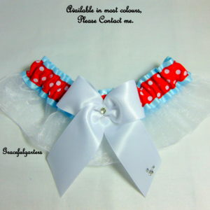 Disney Minnie Mouse Polka Dot Organza Bridal Wedding Garter.