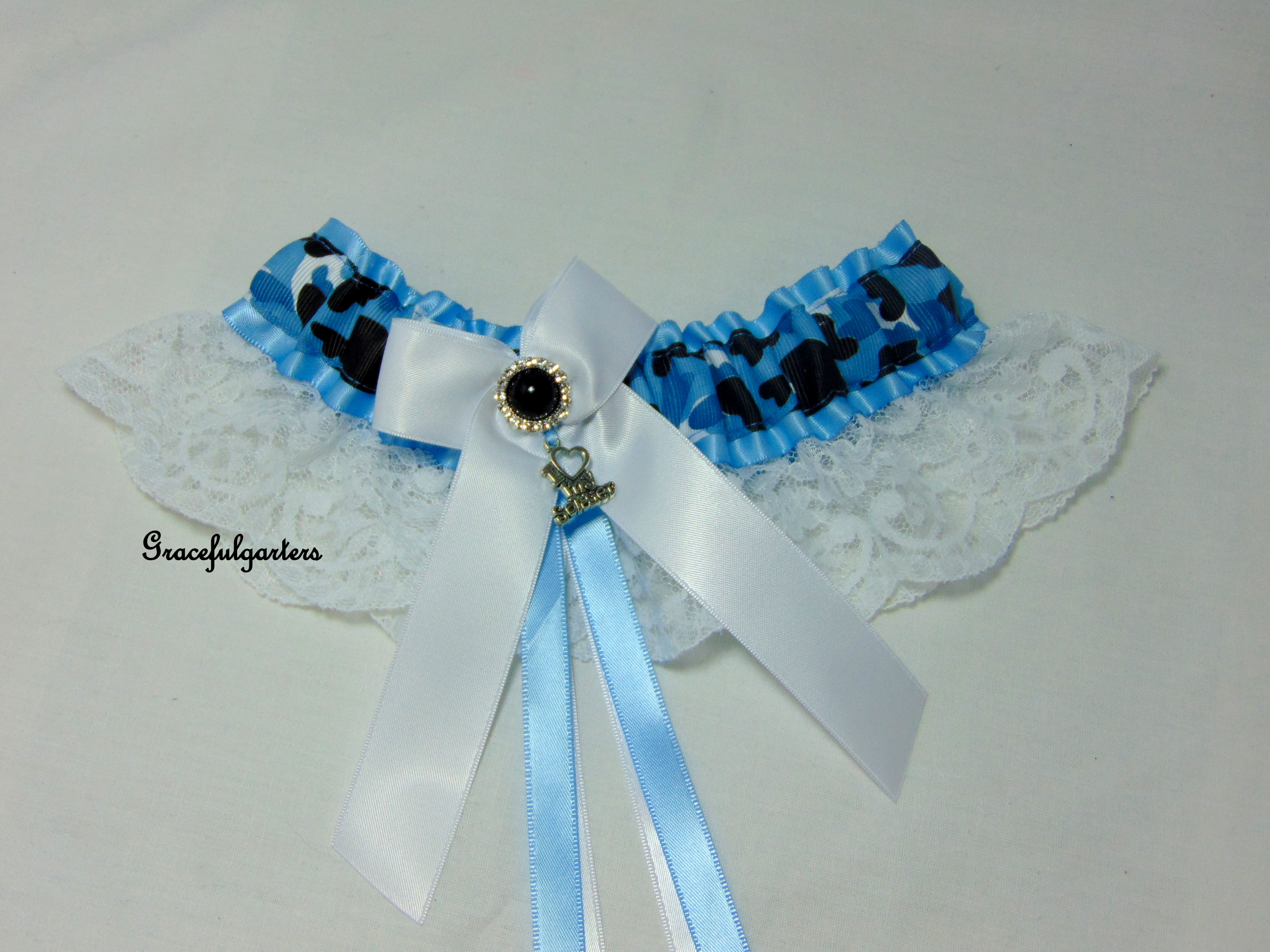 Blue camouflage army Bridal Wedding Garter.