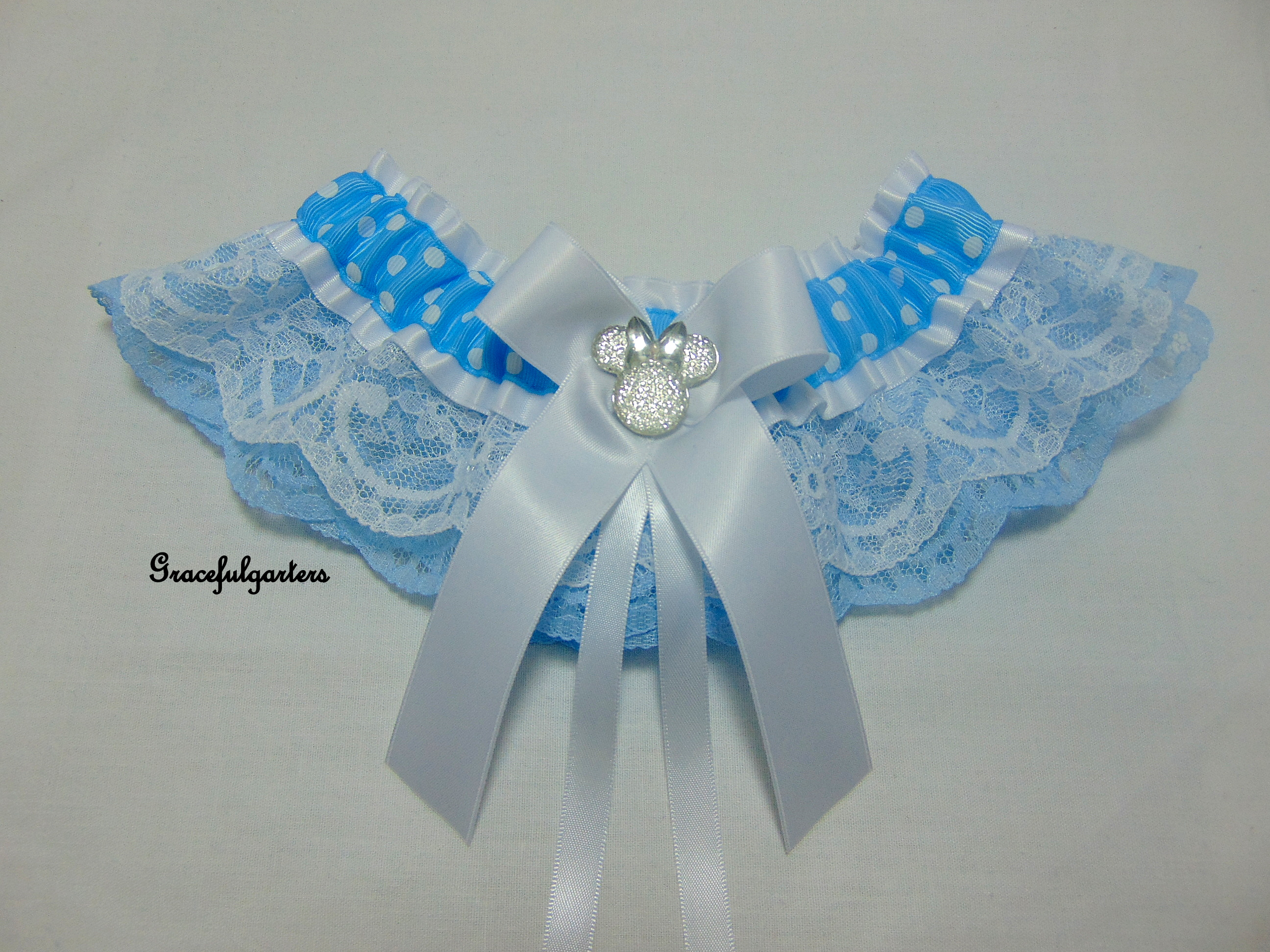 Minnie Mouse Something Blue Bridal Wedding Garter