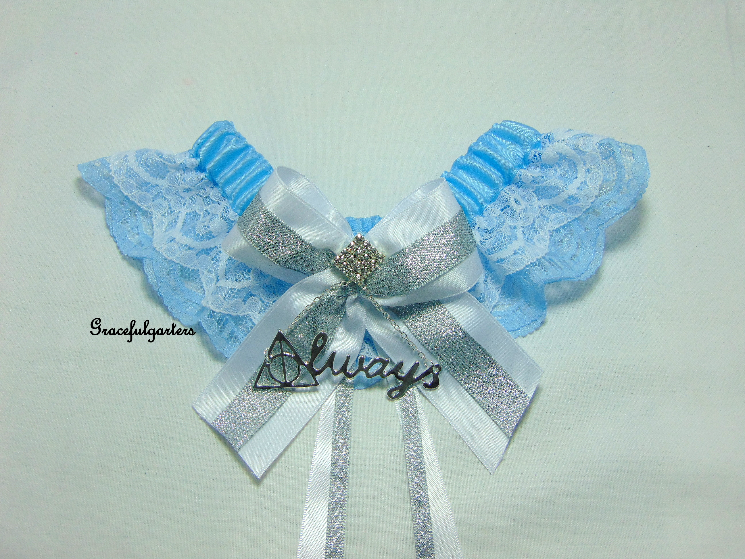 Harry Potter Deathly Hallows Always Sparkle Lace Wedding Garter.