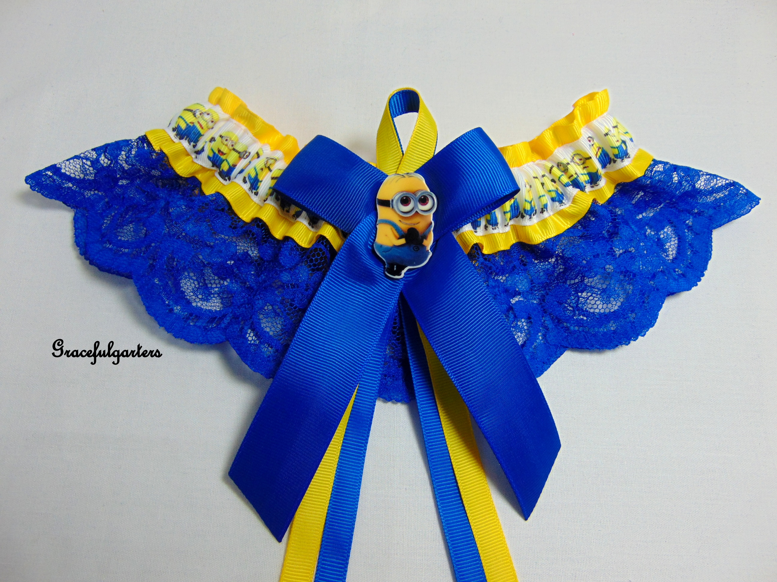 Minions Despicable me Lace Bridal Wedding Garter