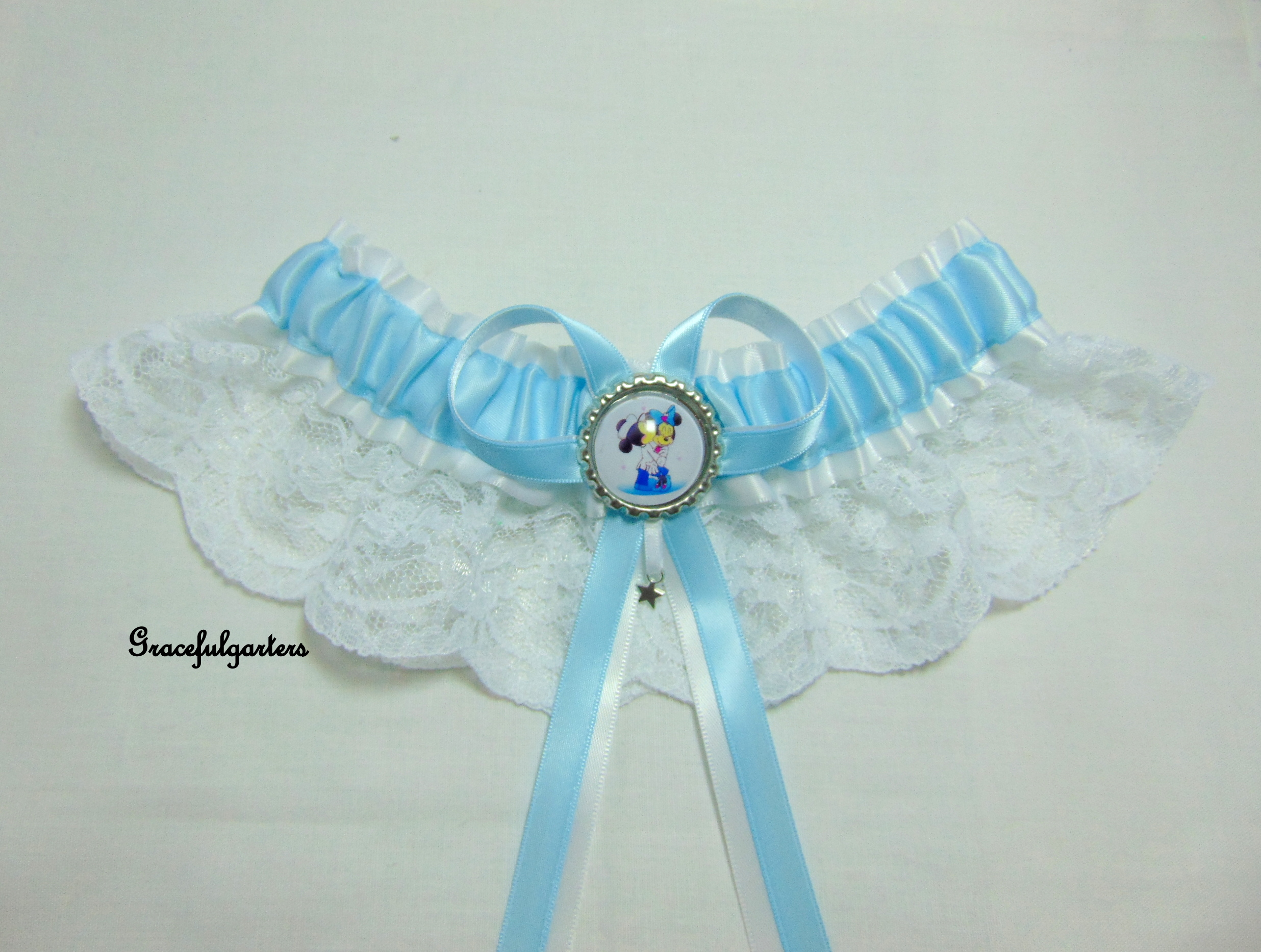 Minnie & Mickey Mouse Disney lace Bridal Themed Wedding Garter