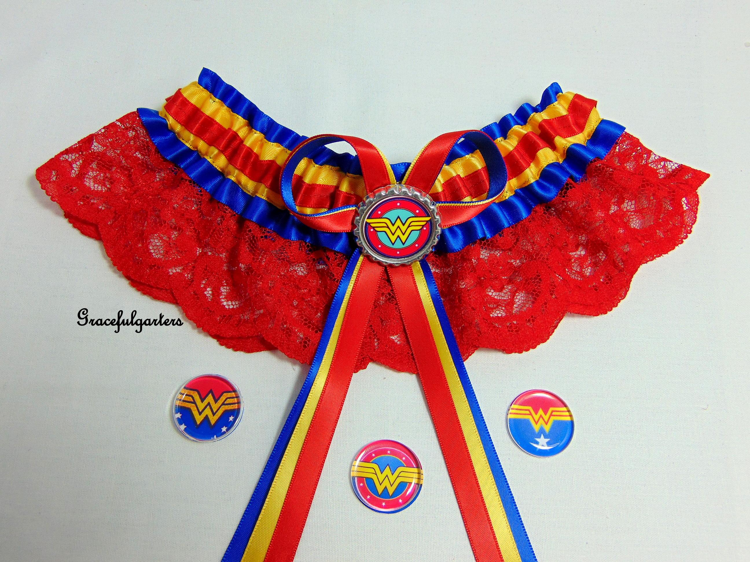 Wonder Woman Multi Colour Lace Bridal Wedding Garter