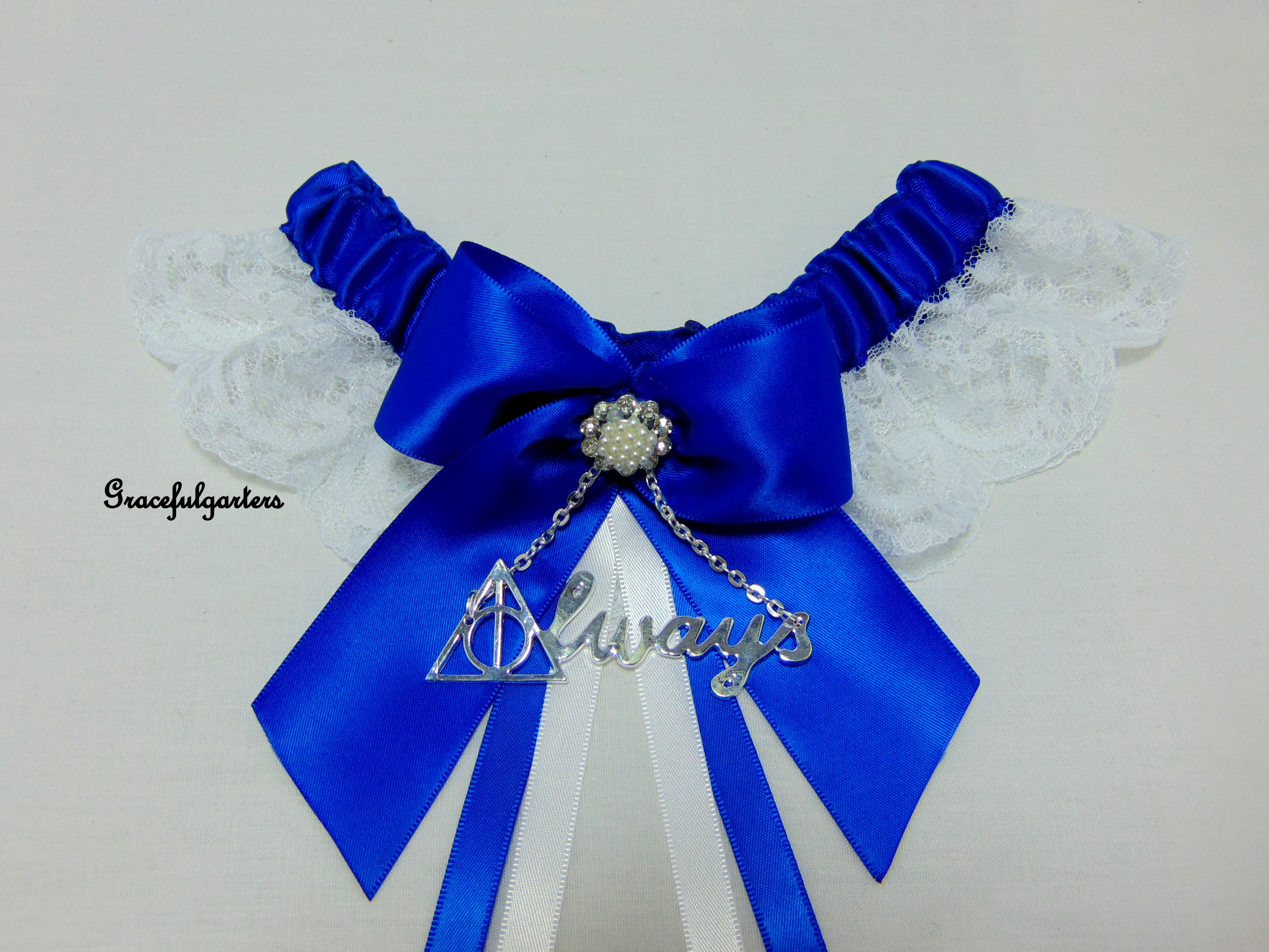 Royal Blue Harry Potter Deathly Hallows Always Lace Wedding garter.