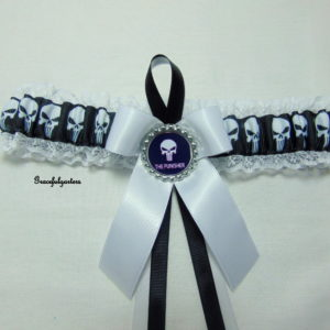 Punisher Vigilante Lace trimmed Bridal Wedding Garter
