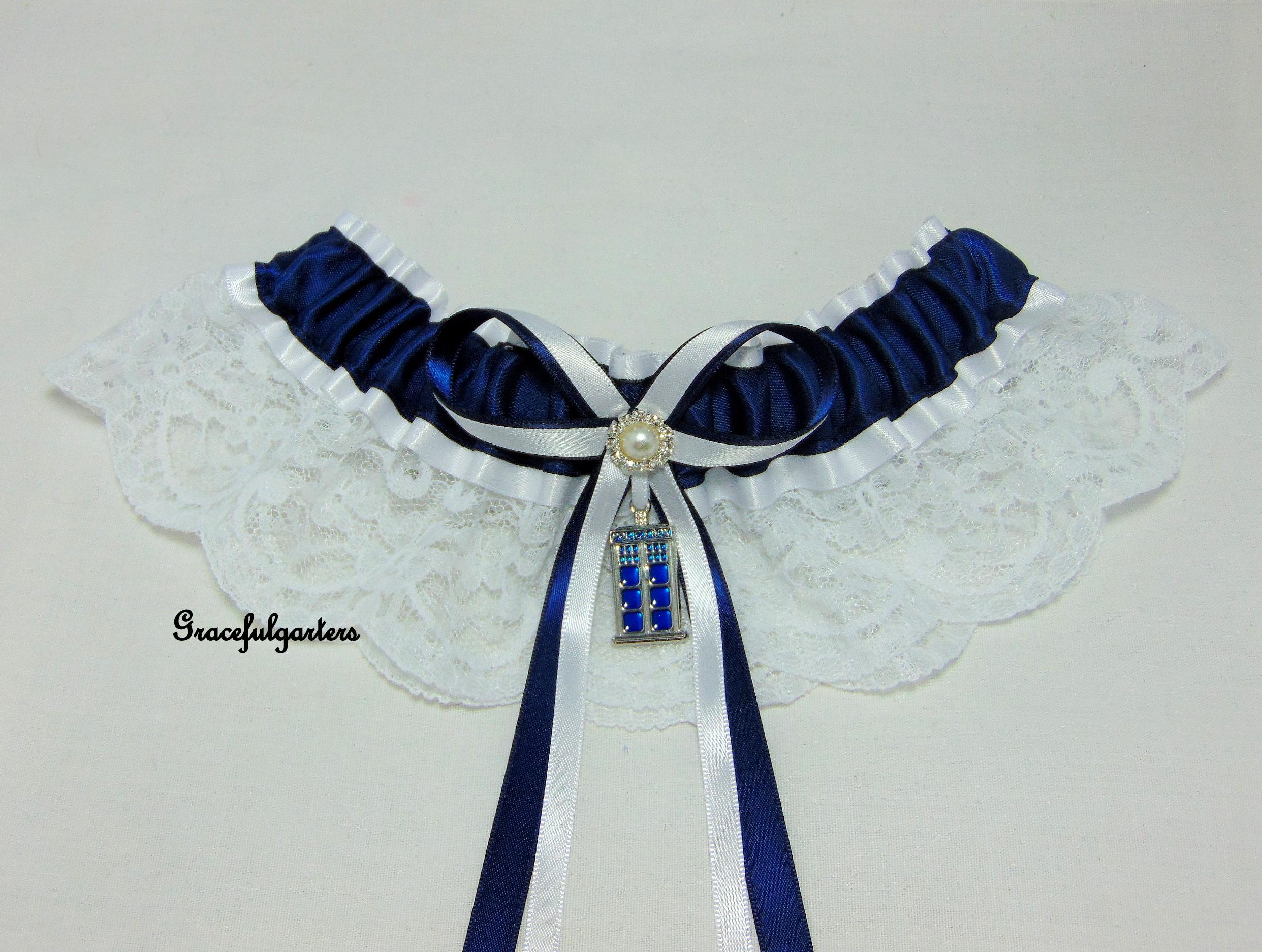 Doctor Who Tardis Lace Bridal Wedding Garter