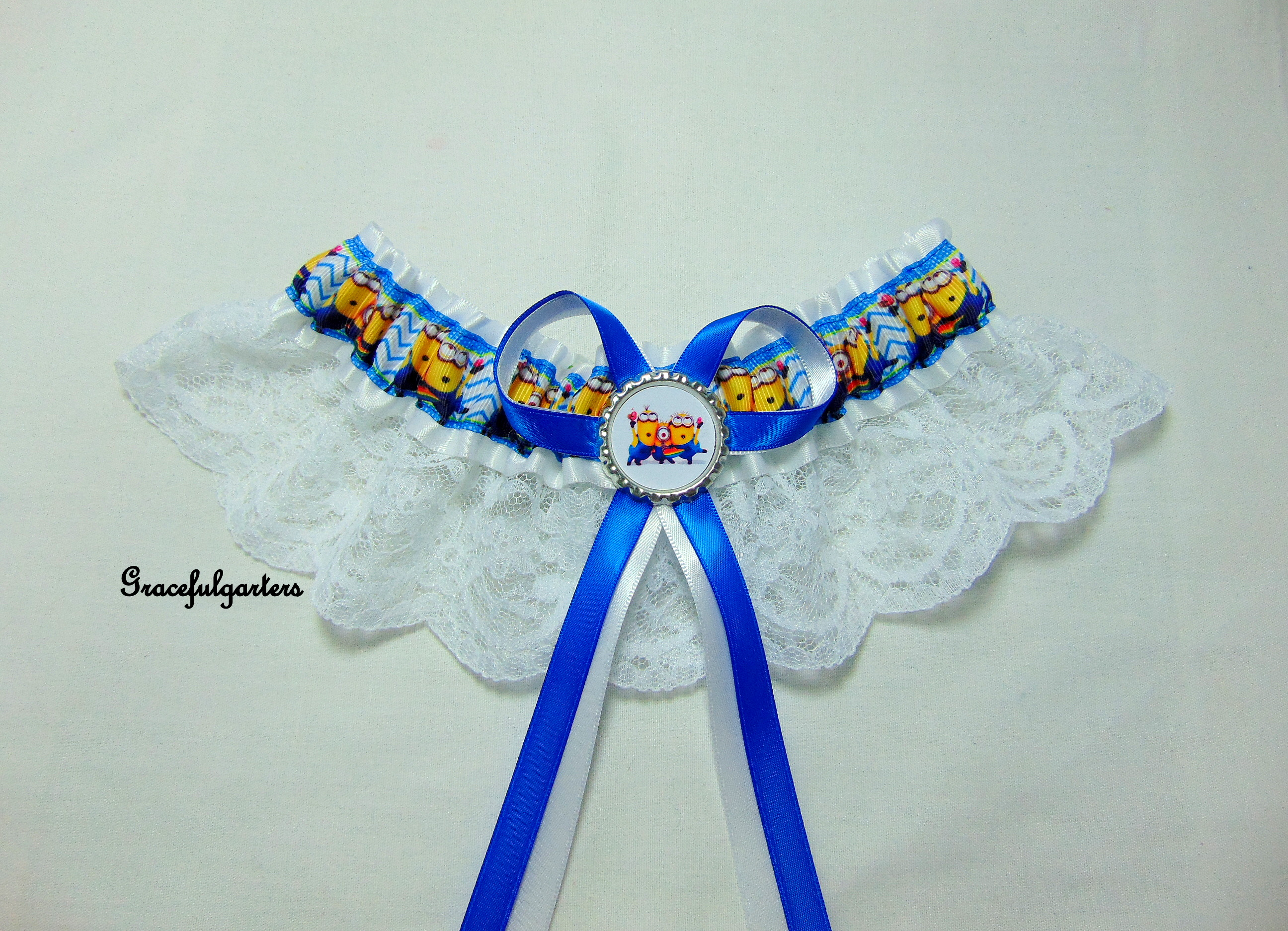 Minions Despicable me White Lace Bridal Wedding Garter