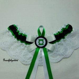 Green Lantern Super Villain Lace Bridal wedding Garter