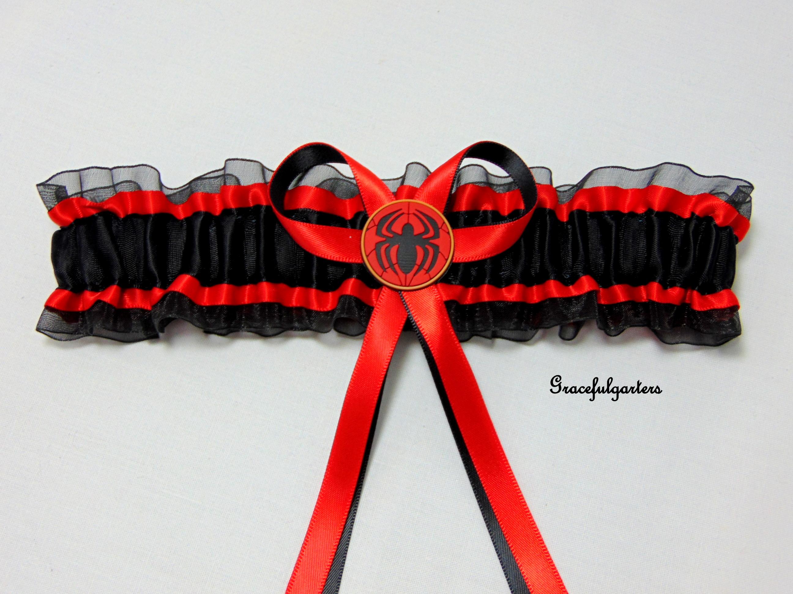 Spiderman Superhero bridal wedding garter