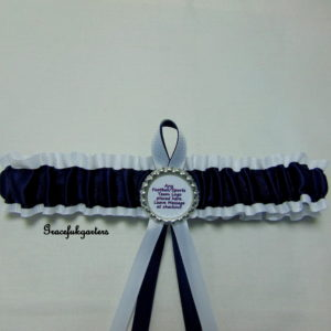 White And Navy Blue Football Team Bridal Wedding Garter