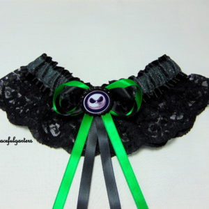 Jack Nightmare Before Christmas Lace Sparkle Bridal Wedding Garter.