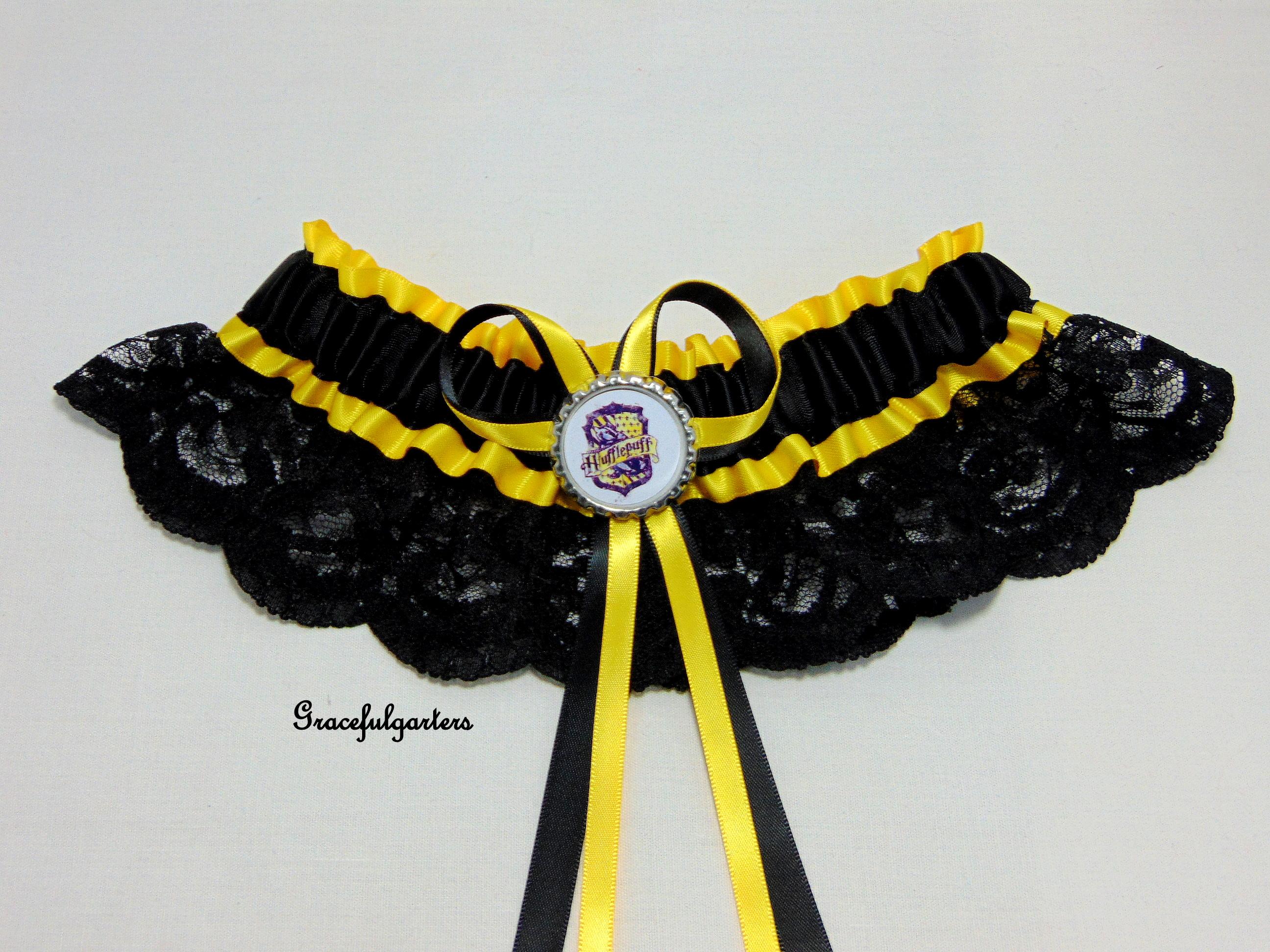 Harry Potter Hufflepuff Lace Bridal Wedding Garter