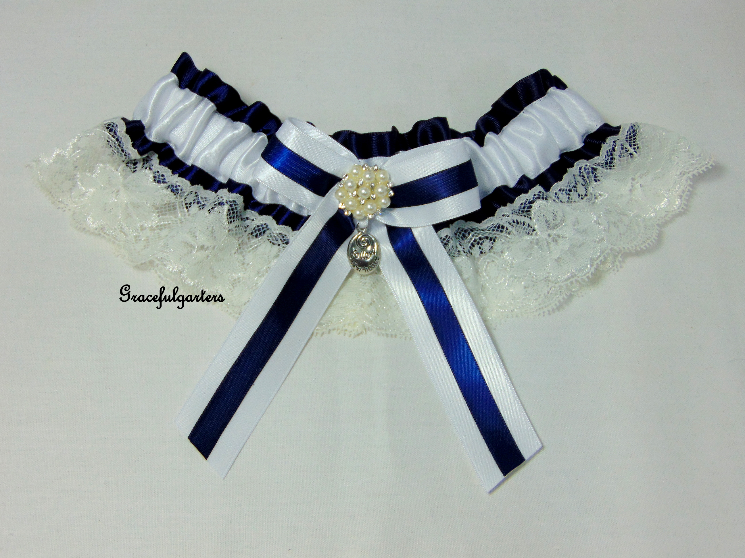 Follow Your Heart Lace Trimmed Bridal Wedding Garter