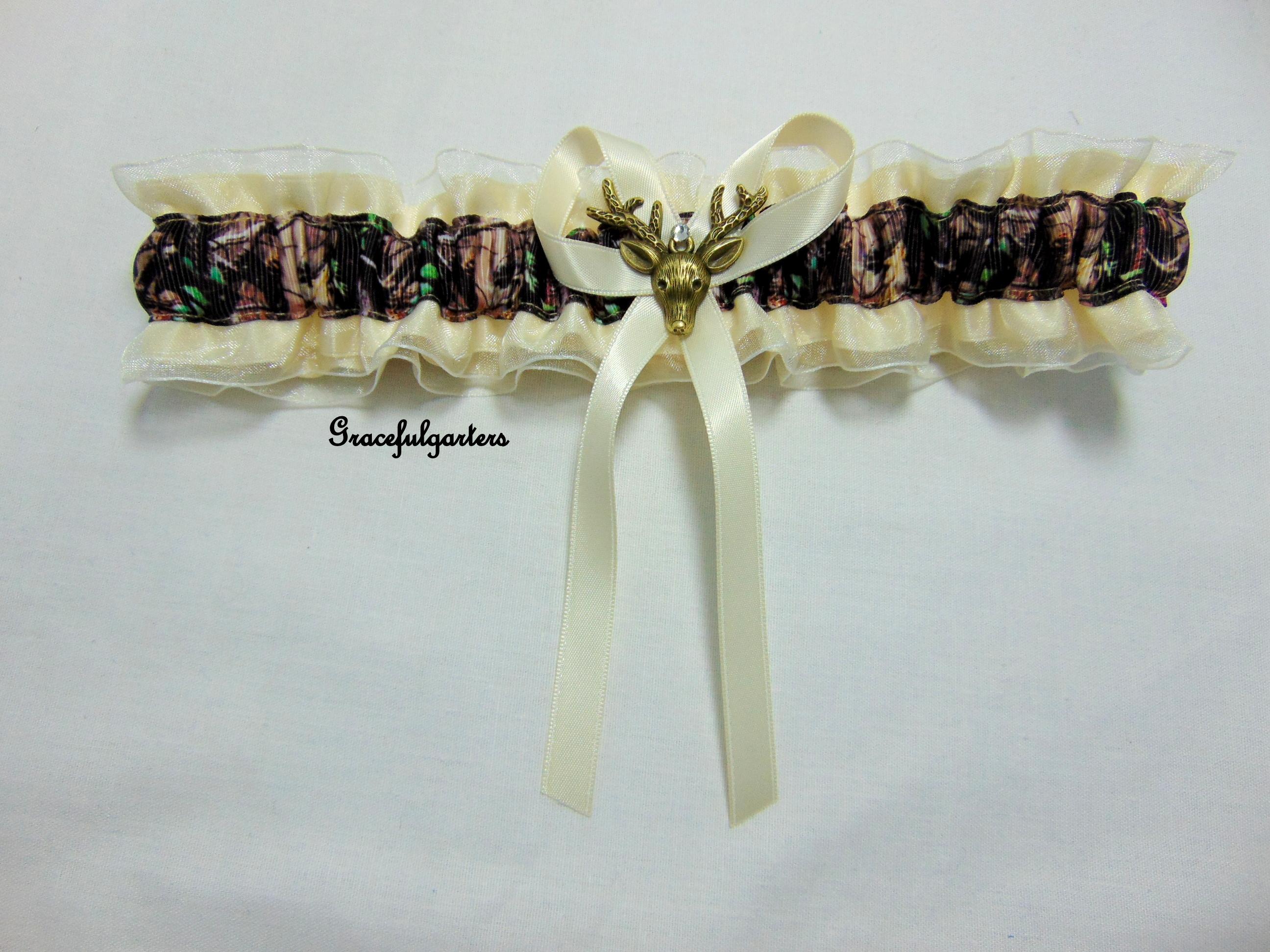 Ivory organza deer stag camouflage bridal wedding garter. Snape's Patronus