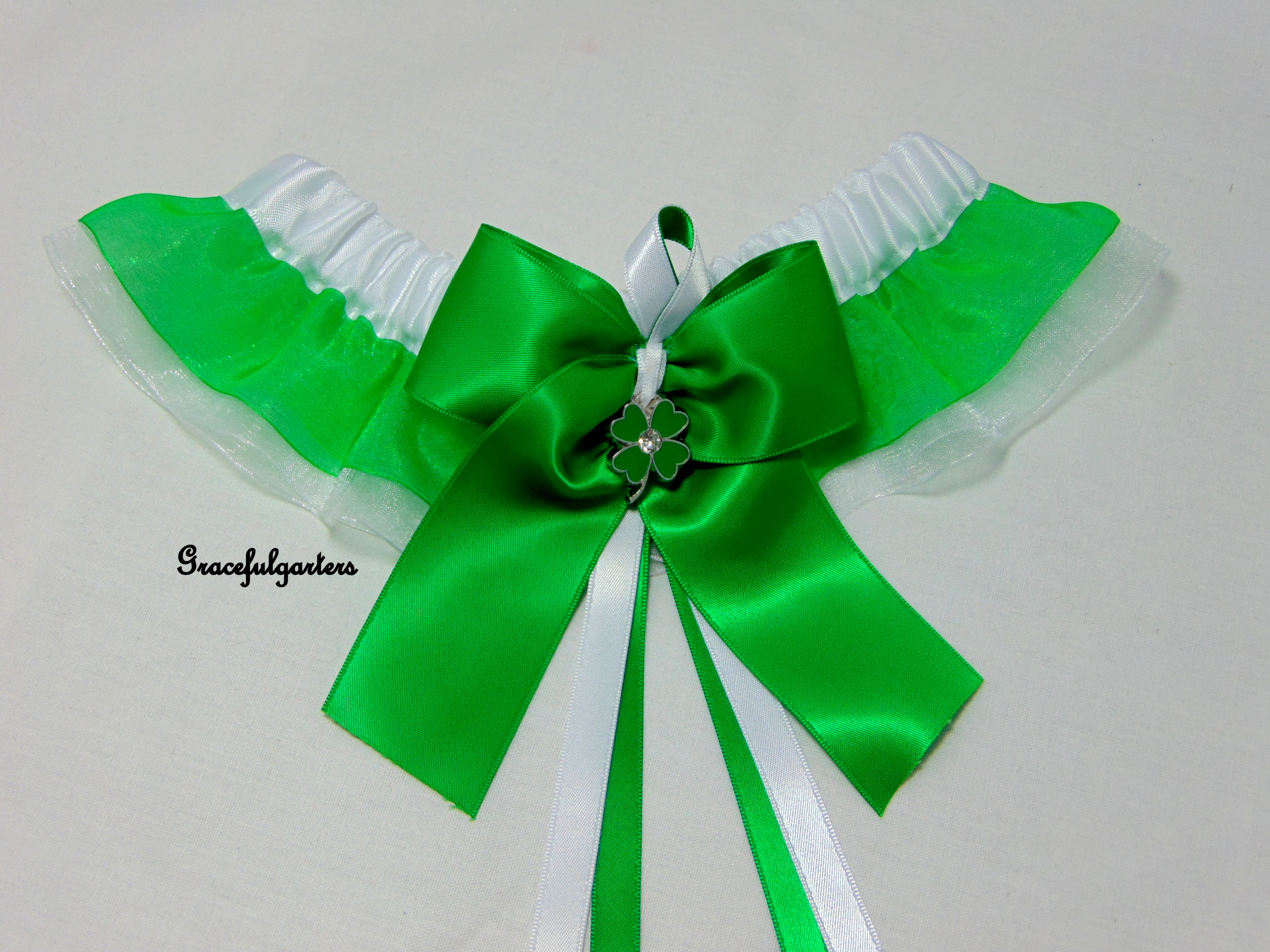 St Patricks Day Irish Organza Bridal Wedding Garter