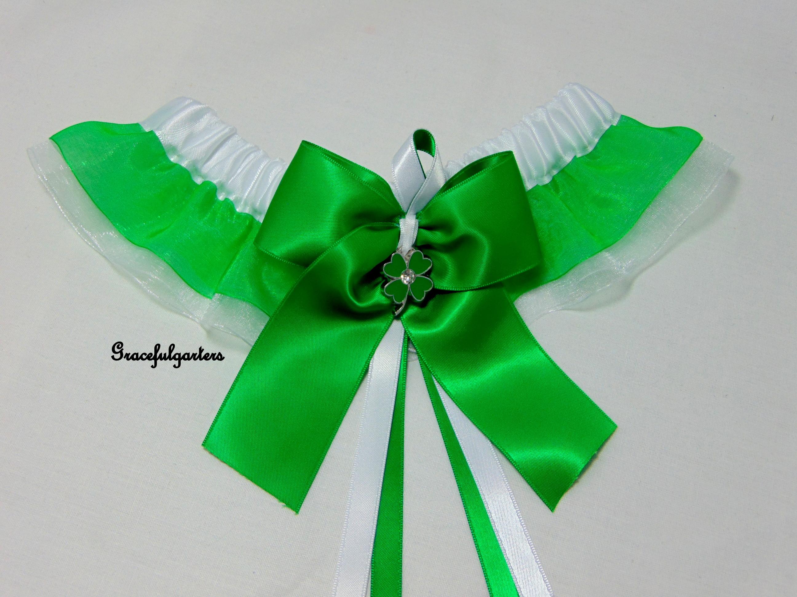 St Patricks Day Irish Organza Bridal Wedding Garter
