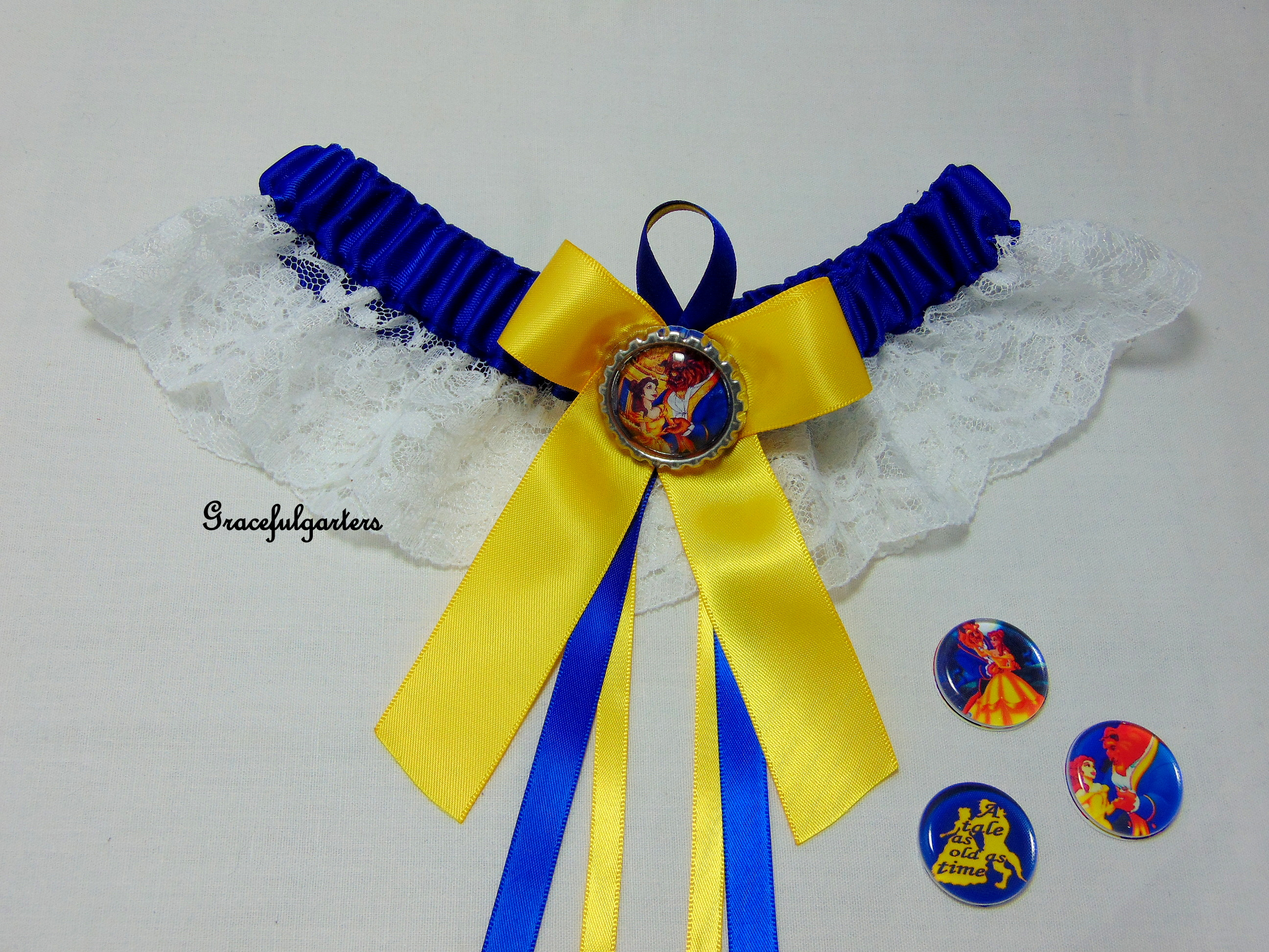 Disney Beauty And The Beast Be Our Guest Lace Bridal Wedding Garter