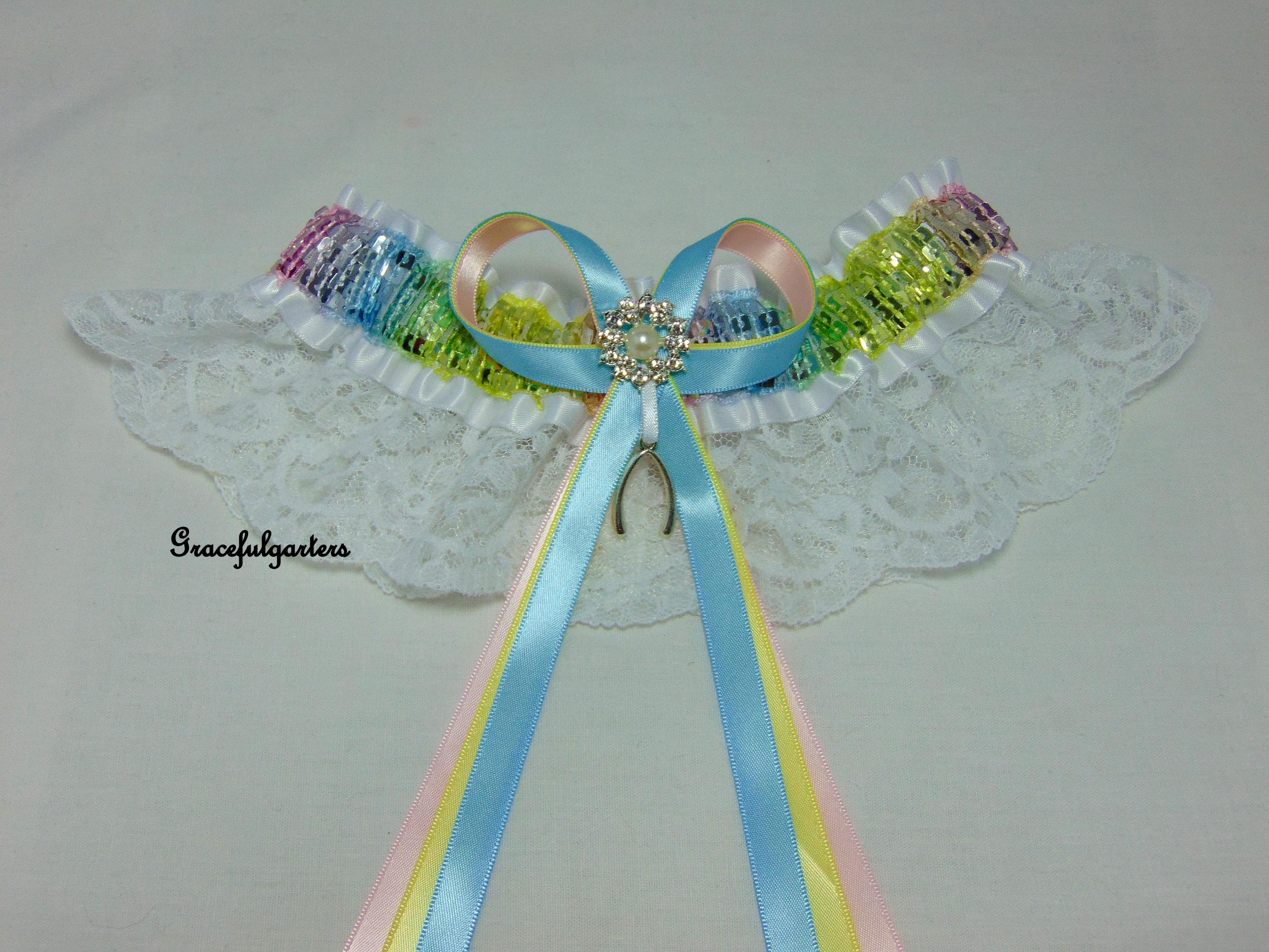 Rainbow Sequin Wishbone Gay Pride Lace Bridal Wedding Garter