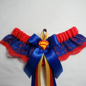 Superman superhero double Lace Bridal Wedding Garter