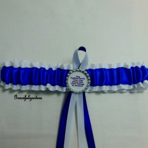 Royal Blue And White Football Team Sports Bridal Wedding Garter